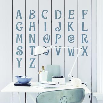 industri snirkligt alfabet träpanel